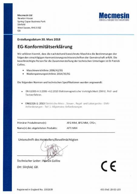 """EG-Konformitatserklarung, AFG Mk4; BFG Mk4, CFG+ und """"Smart"""" Kraft- und Drehmomentsensoren"""