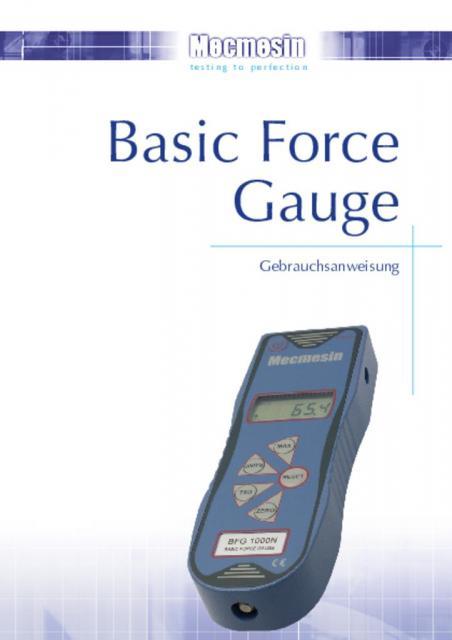 Basic Force Gauge Gebrauchsanweisung