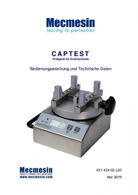 Captest Prüfgerät für Drehmomente Bedienungsanleitung und Technische Daten