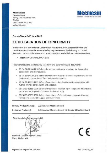 EC Declaration of Conformity, Single Column Standard Interlocked Guards