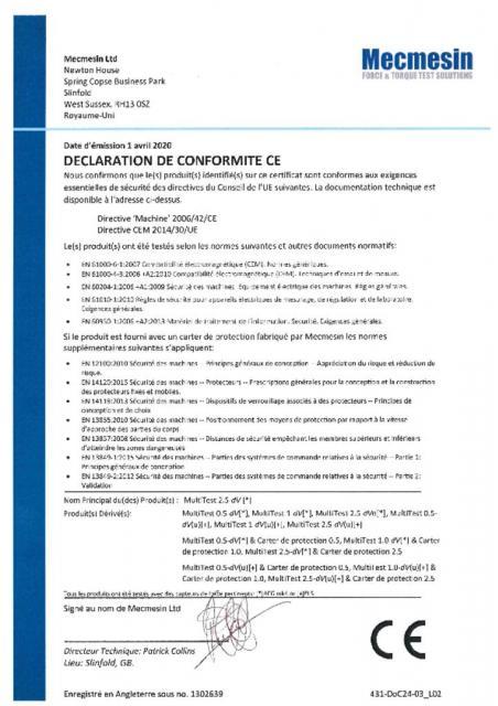 Declaration de Conformite CE, MultiTest dV toutes les variantes, y compris dV(u) & captuers de force & carter de protection