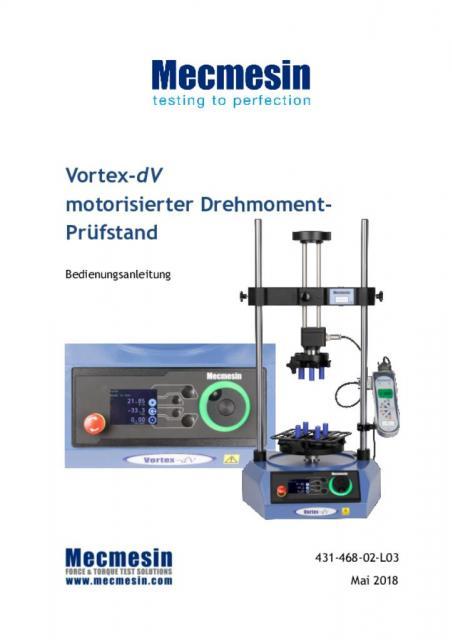 Vortex-dV motorisierter Drehmoment-Prüfstand Bedienungsanleitung