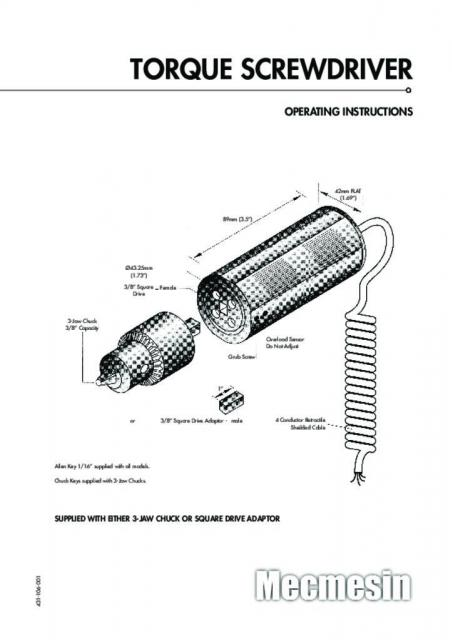 Torque Screwdriver Operating Instructions