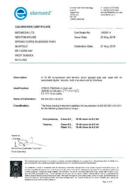 TM0294 10 kN Transfer Standard & TM0296 Indicator