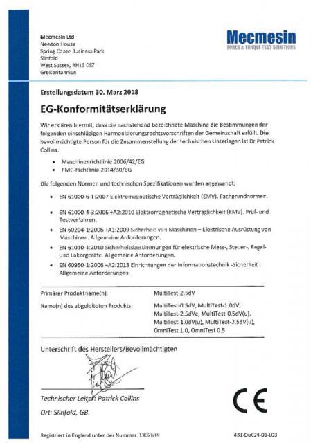 EG-Konformitatserklarung , MultiTest dV alle varianten inklusive dV(u)