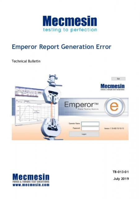 Technical Bulletin - Emperor Crystal Reports Error