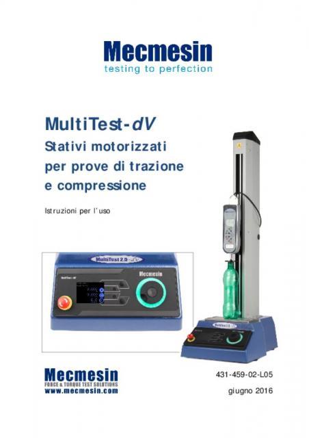 MultiTest-dV Stativi motorizzatiper prove di trazione e compressione Istruzioni per l'uso
