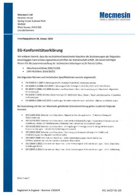 EG-Konformitatserklarung, OmniTest 5 und OmniTest 7.5