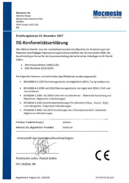 EG-Konformitatserklarung, Vortex-i und Vortex-xt