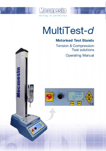 MultiTest-d Motorised Test Stands Operating Manual
