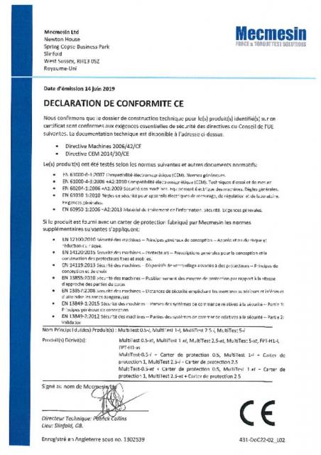 Declaration de Conformite CE, MultiTest 0.5-i; 1-i; 2.5-i; 5-i; MultiTest 05.-xt; 1-xt; 2.5-xt; 5-xt; FPT-H1-i; FPT-H1-xt et Car