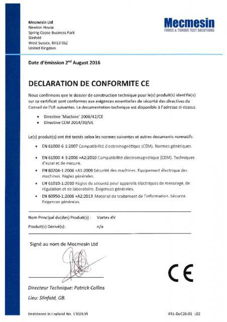 Declaration de Conformite CE, Vortex-dV
