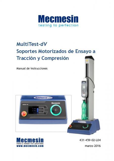 MultiTest-dV Soportes Motorizados de Ensayo a Tracción y Compresión Manual de instrucciones