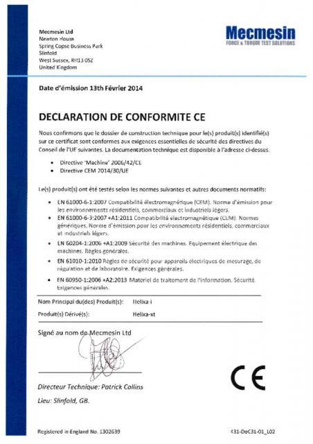 Declaration de Conformite CE, Helixa-i et Helixa-xt