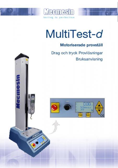 MultiTest-d Motoriserade provställ Drag och tryck Provlösningar Bruksanvisning