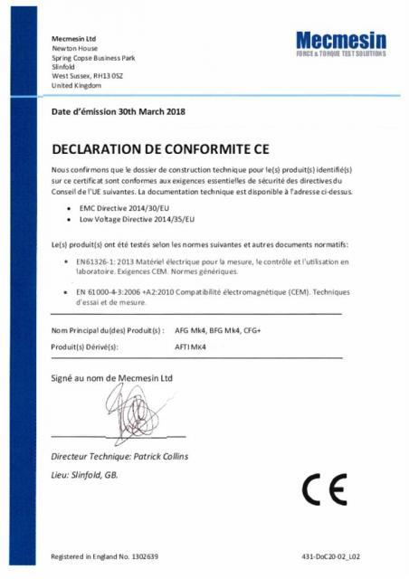 Declaration de Conformite CE, AFG Mk4; BFG Mk4, CFG+ et capteurs de force et de couple externes Mecmesin 'Smart'