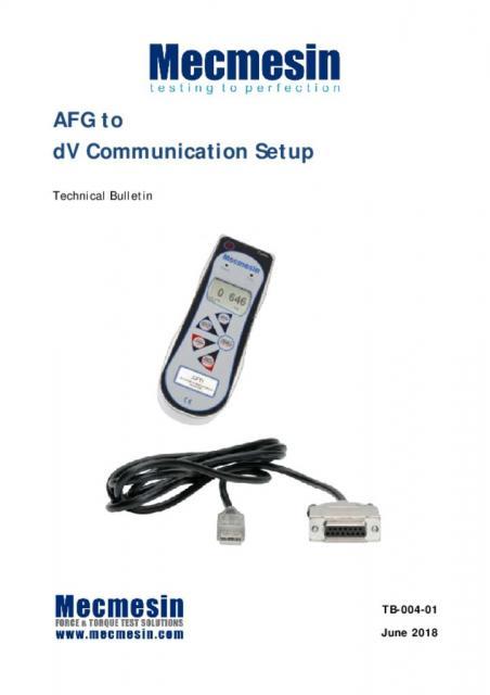 AFG to Multitest dV communication configuration