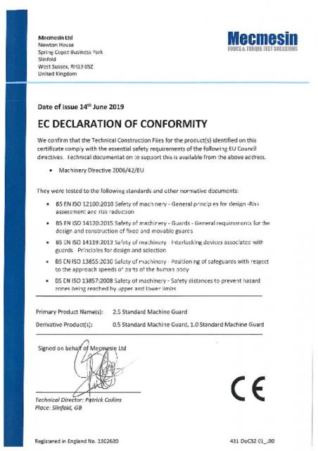 EC Declaration of Conformity, Single Column Standard Interlocked Guards