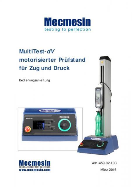 MultiTest-dV motorisierter Prüfstandfür Zug und Druck Bedienungsanleitung