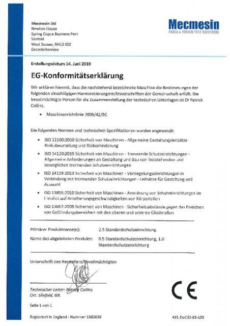 EG-Konformitatserklarung, 2.5 Standardschutzeinrichtung, 0.5 Standardschutzeinrichtung und 1.0 Standardschutzeinrichtung