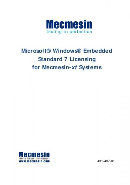 Microsoft Windows Embedded Standard 7 Licensing for Mecmesin-xt Systems