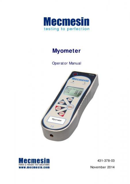 Myometer Operating Manual