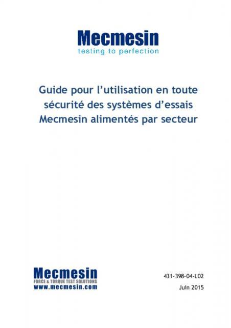Guide pour l'utilisation en toute sécurité des systèmes d'essais Mecmesin alimentés par secteur
