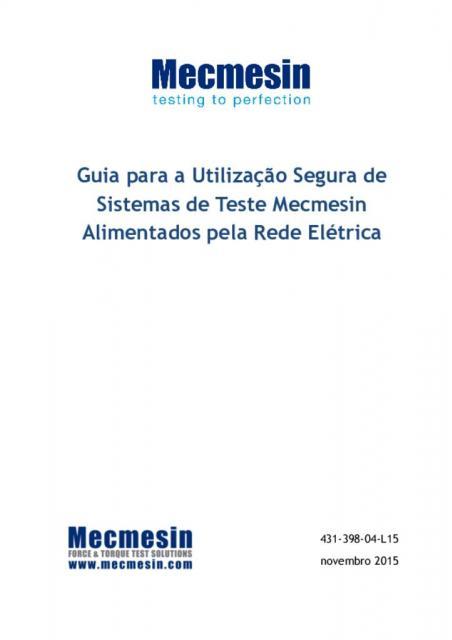 Guia para a Utilização Segura de Sistemas de Teste Mecmesin Alimentados pela Rede Elétrica