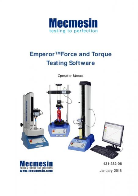 431-382-08-L00 Emperor™ Force and Torque Testing Software: Operator Manual