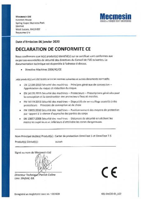 Declaration de Conformite CE,, OmniTest 5 and OmniTest 7.5 Carter de Protection