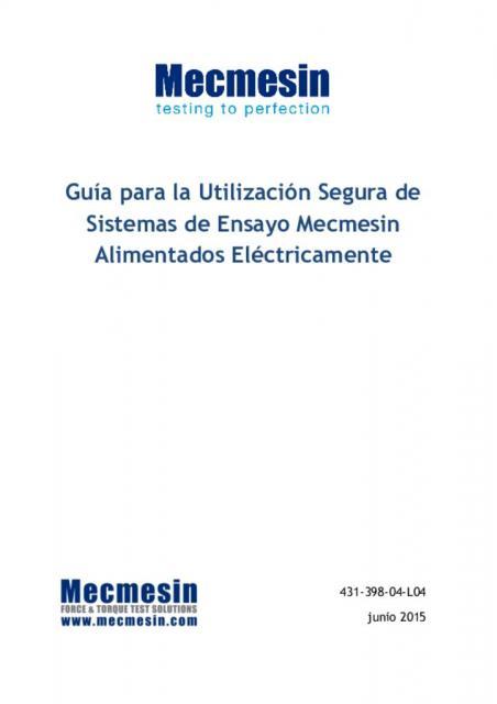 Guía para la Utilización Segura de Sistemas de Ensayo Mecmesin Alimentados Eléctricamente