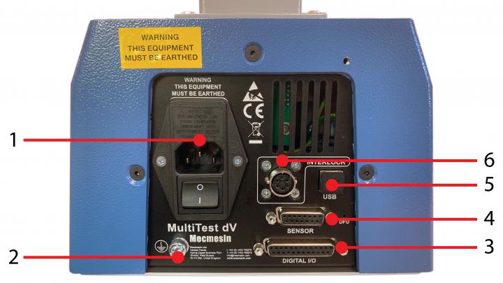 MultiTest-dV Rear Panel